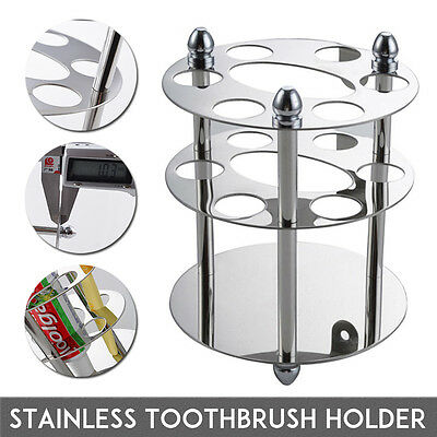 6 Hole Stainless Steel Bathroom Toothpaste Toothbrush Holder Shelf Wall Mount