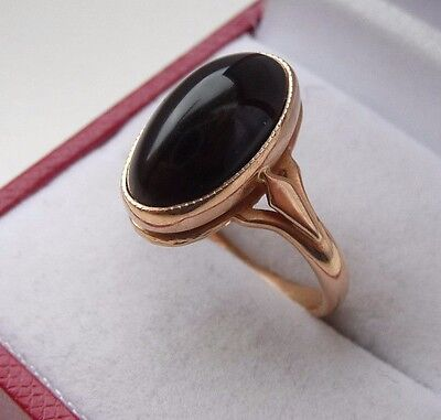 Vintage Soviet Russian 583,14k Solid Gold Ring With Black Agate Size 7