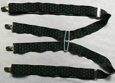 VINTAGE CLIP ON BRACES WIDE 1970s 1980s ONE SIZE MENS BLACK RED GREEN PATTERNED