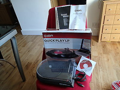 Ion Quick Play Lp Compact Turntable Usb Digital Audio Conversion Record Player
