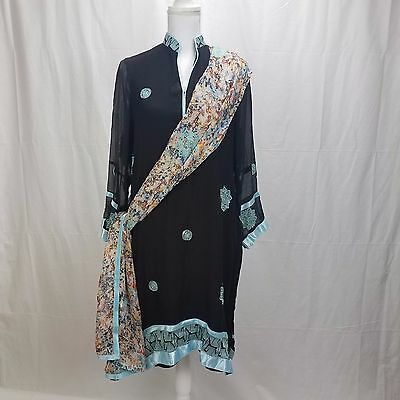 Indian Kurti Kurta and Dupatta Black Embroidered Womens Tunic Top Dress Medium