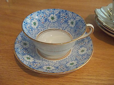 ROSINA Cup & Saucer - Blue w/White Flowers and Raised Centers