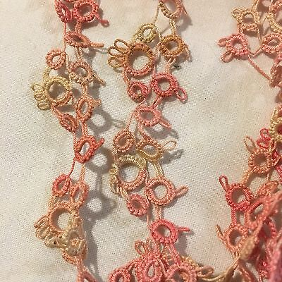 Vtg Antique Hand Tatted Lace Tatting Trim Shades Pink Variegated 11yds