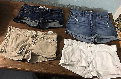 Lot of 4 ~ Women's Hollister Mini Shorts Size 1 W 25 - Denim Khaki White Juniors