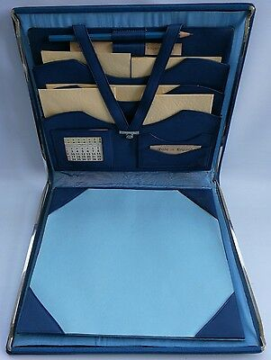 Vtg Art Deco Boxed 1935 Blue Leather Desktop Writing Stationery Set Blotting Pad