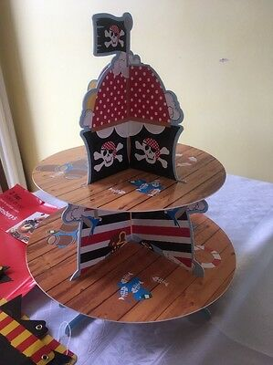 Pirate Theme 2 Tier Cake Stand & Happy Birthday childrens Party Bunting