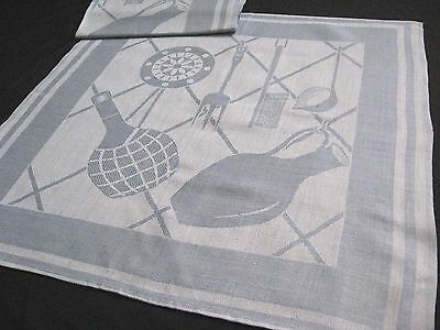rare old unused linen kitchen Towel clear blue colour with dishes pattern
