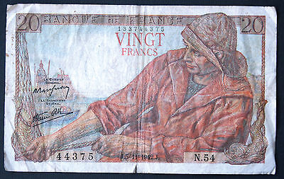 FRANCE - 20 FRANCS 1942 - Banknote Note - P 100a P 100a (VG+)