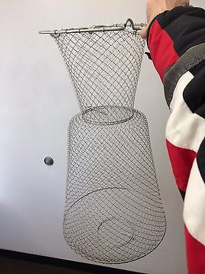 Rare Vintage Land Em' Stay Alive Fish Bag & Pole Rest Metal Mesh Net Holder 30""