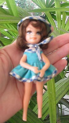 Vintage Rare Uneeda Tiny Teens Doll Fun Time 1967 Turquoise Dress & Hat Brunette