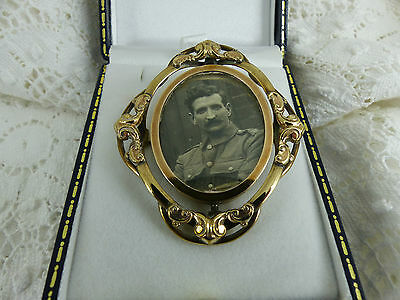 Antique Victorian Gold Plated Photograph Memorial Brooch