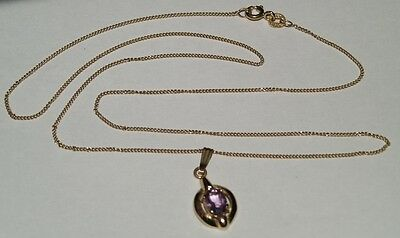 9ct yellow gold amethyst pendant with chain necklace