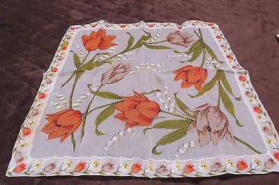 Vintage Floral Colorful Hankie NEW with Tag All Cotton #RN13962 Made in Japan