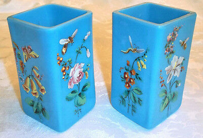 Two Antique Victorian Floral Insect Hand Painted Enamel Blue Milk Glass Vases