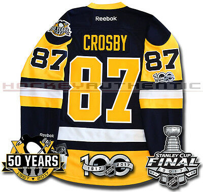 Sidney Crosby Pittsburgh Penguins 2017 Stanley Cup Jersey Reebok 100Th 50Th New