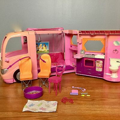 BARBIE GLAMOUR CAMPER RV Vacation Home Vehicle VGUC Music Sound Pop-Out Tent