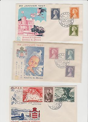 Monaco FDCs Princess Caroline's Birth 1957 Princess Grace