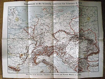 1915 WORLD WAR ONE MAP of the EASTERN and WESTERN THEATRES OF ACTION