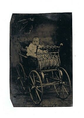 """Antique Tintype Photo of Child and Antique Carriage 2 3/8"""" x 3 1/2"""""""