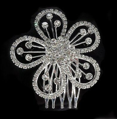 Bridal Wedding Flower Crystal Rhinestone Headband Hair Clip Comb Silver