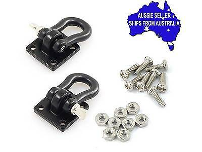 2 X BLACK Towing hooks,Shackles, D bolts for 1:10 RC suit Axial GMade Komodo