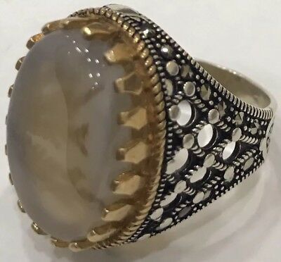 Silver Yemeni tree Agate Men Ring, aqeeq, aqiq, akik, خاتم عقيق شجري يماني