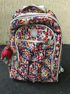 KIPLING WHEELED/ROLLING BACKPACK LUGGAGE CARRY ON Multi Color 13Lx18Hx8D