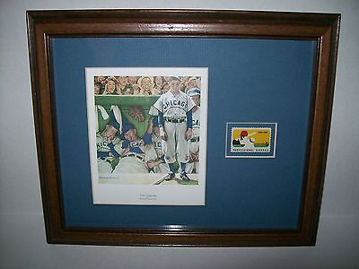 """Matted & Framed """"The Dugout"""" Rockwell & 6 Cent Stamp Pro Baseball  Chicago Cubs"""