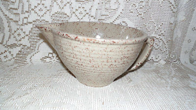 Monmouth Pottery Tan/Brown Speckled Spongeware Gravy Pitcher