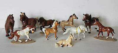 Lot of 10 Vintage Hagen-Renaker Mini Miniature Horses Clydesdale Mustang