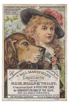 Mansfield's Capillaris For The Hair. Victorian Trade Card  Girl, Dog