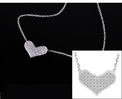 "Sterling Silver CZ Micro Pave Heart Slide Pendant Necklace 18"" Chain Gift Box A6"