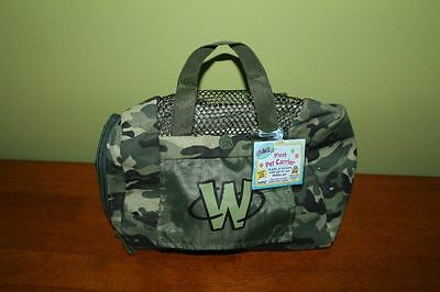 WEBKINZ  Plush Pet Carrier Green Camo Pattern  Sealed code tag New Ganz