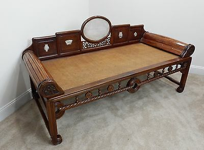Chinese Intricately Carved Rosewood and Marble Opium Day Bed/  Couch  68""