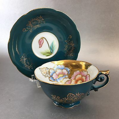 Antique Occupied Japan Hand Painted Green Floral Teacup & Saucer Trimont China