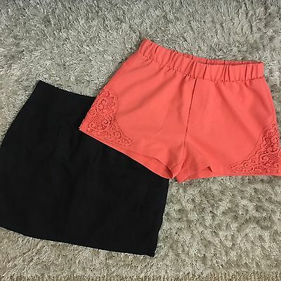 URBAN OUTFITTERS Womens Lot Shorts Linen Mini Skirt Black Orange Lace Size Small