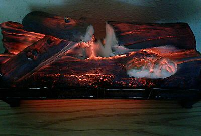 Fireplace Insert- Fake Faux Logs w/glowing rotating Ambiance  & Crackling Sounds