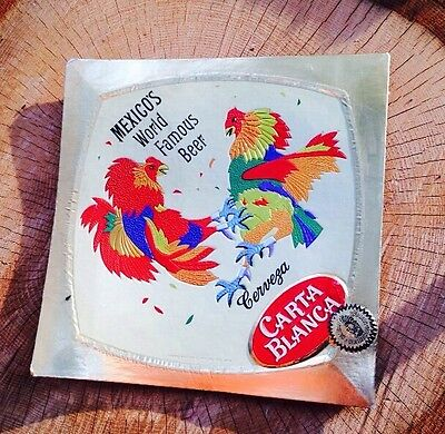 Vintage Carta Blanca Beer Sign Fighting Cocks Illustration Brewery Collectible