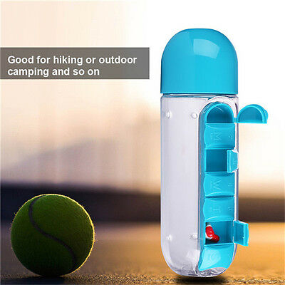 Portable Outdoors Travel Water Bottle with Pill Box and Cup Leak-Proof 600ML new