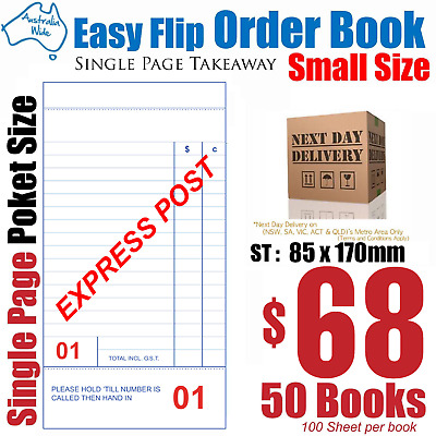 50x Small Size Takeaway Restaurant Docket Order Book 85x150mm