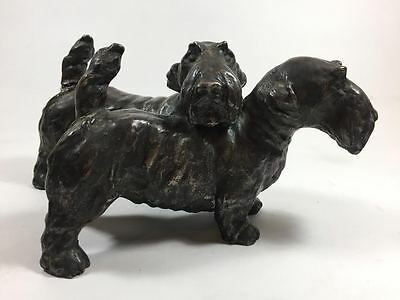 Figural Sculpture Grouping of Two West Highland Terrier Dogs