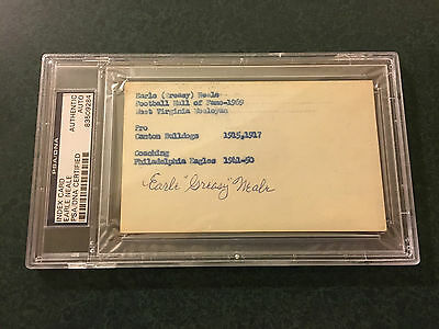 "Earle ""Greasy"" Neale Football Hall of Famer signed Index Card PSA/DNA Authentic"