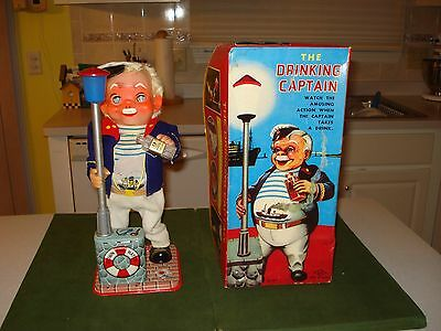 EARLY 1960's THE DRINKING CAPTAIN BATTERY OPERATED TOY w/BOX, HIGH GRADE,WORKING