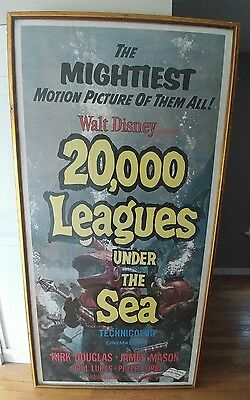 VTG 20,000 LEAGUES UNDER THE SEA MOVIE POSTER 7'x4' SEATTLE NEPTUNE THEATER 1963
