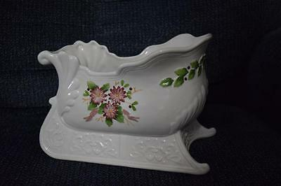White Sleigh Ceramic Porcelain With Flowers Holder Candy Planter Decor