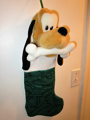 Disney PLUTO Dog 3D Plush Head Christmas Stocking Green Bone Puppy Pet Fireplace