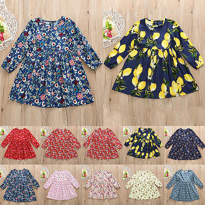 Girls Long Sleeve Cotton Floral Top Dress New
