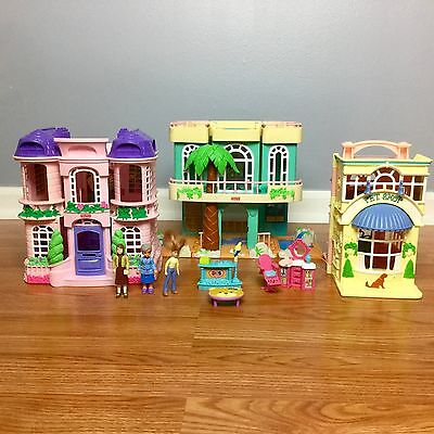 Fisher Price SWEET STREETS DOLLHOUSE LOT Beach House Mansion Beauty Salon Pet