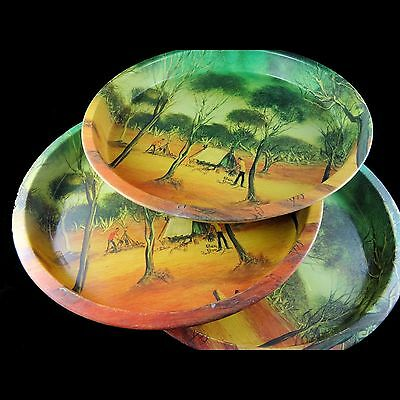 Vintage 1975 Australiana -Pro Hart- round 31cm tin serving trays 'Trappers Camp'