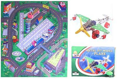 Airport Play Mat PLUS Metal Model Plane Kit to Build Aeroplane DIY Land Runway